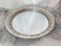 Spiegel Tablett Deko Metall Kerzen Teller Shabby Landhaus Vintage Rund Silber