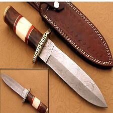 Damascus Steel Hunting Dagger Handle Brass Guard,Sis so Wood,Bone {QN-219}