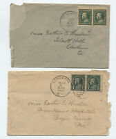 2 1920s imperforate pairs on covers Stockton NY [y5735]