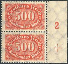 """MiNr. 251 im Paar vom rechten Seitenrand mit Paßerkreuz + PlNr. """"2"""" postfrisch"""
