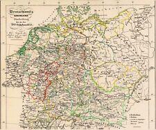 171 Jahre alte Landkarte DEUTSCHLAND Anno 1600 Kirchliche Einteilung 1846