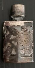 RARE OLD SIGNED TAXCO STERLING SILVER ENCASED PERFUME BOTTLE ART DECO 2 IN TALL