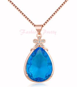 "8 Carat Pear Shape Blue Topaz Necklace In 14K Rose Gold Over Sterling Silver,18"""