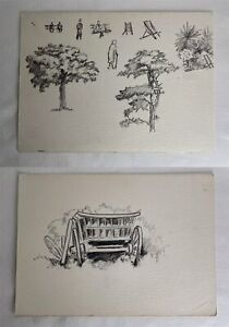 Vintage Double Sided ~24x17cm Art Drawing Sketches On Paper - Cart + Studies