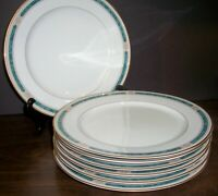 """LOT OF 7 GORHAM REGALIA COURT TEAL DINNER PLATES 11"""" NEVER USED FREE US SHIPPING"""