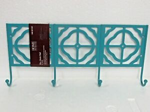 """Home Decorators Collection Metal 16"""" Teal Finish 4-Hook Rail - BRAND NEW"""