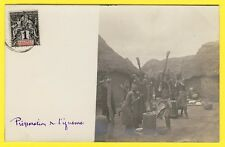 cpa Real Photo Postcard BÉNIN PARAKOU Préparation de l'IGNAME Timbre Colonies