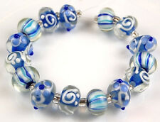 Lampwork Glass Beads Aqua Blue White Flower Swirl Handmade Craft Rondelle Spacer
