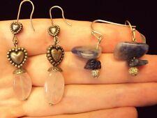 little heart pink quartz + blue sodalite gemstone dangle silver earrings 2 pairs