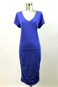 ATHLETA Blue TOPANGA V-Neck Ruched Dress Short Sleeve Modern Activewear L TALL