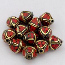 Coral Brass 12 Beads Tibetan Nepalese Handmade Ethnic Tribal Tibet Nepal UB2568