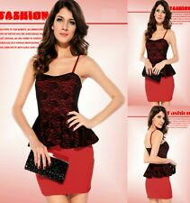 Sz 8 10 Red Black Lace Peplum Formal Dance Party Club Sexy Gown Cocktail Dress