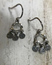 SILPADA Sterling Silver 'Triplicity' Etched Disc Coin Dangle Earrings W2764 RARE