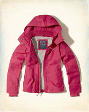 Hollister All Weather Hooded Women's PINK Lined Jacket Coat Spring Small S
