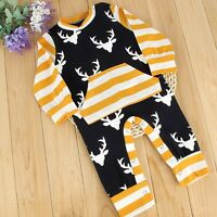 Newborn Infant Baby Boy Girl Xmas Cotton Romper Jumpsuit Bodysuit Clothes Outfit