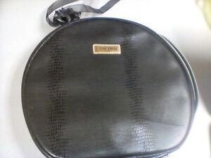 Lancome Paris Womens Black Leather Makeup Bag Travel Toiletry Case New
