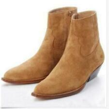 Hot Mens Chelsea Real Suede Leather High Top Ankle Boots Cuban Heel Shoes Sz