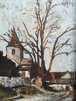 Peinture ancienne  huile sur toile encadré village église
