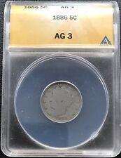 1886 Liberty Head Nickel ANACS AG3 5c Rare Key Date #6800