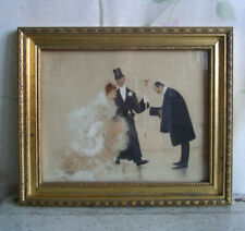 Jan van Beers Art Deco Bild Druck handkoloriert Dame Herren um 1920 signiert