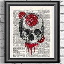 Steampunk Skull Red Gears Gothic Dictionary Book Art