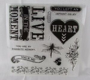Close To My Heart Skylark Stamp Set Acrylix D1591 CTMH Dragonfly Heart Flourish