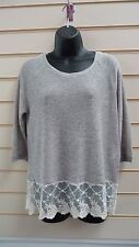 LADIES LIGHT GREY JERSEY & LACE TRIM PANEL CASUAL LIGHTWEIGHT TOP SIZE M BNWT