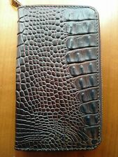 Clutch Women Zip Around Wallet Purse Genuine Crocodile Tail Skin Brown NWOT