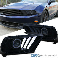 For 10-14 Mustang LED & Sequential Turn Signal Glossy Black Projector Headlights