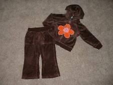 baby GAP Toddler Girls Brown Velour Flower Hoodie & Pants Set Lot Size 2 yrs 2T