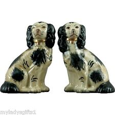 New Reproduction Staffordshire King Charles Spaniel Dog Pair Figurines 9 inches