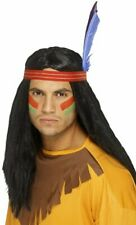 Indian Brave Wig With Headband & Feather (Black)