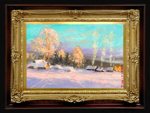 "Oil Painting PRINTED on Canvas Arseni ~ CHRISTMAS 26"" X 18"" Art NO FRAME Artist"