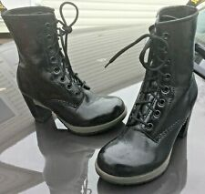 Dr Martens Darcie black floral patent leather boots UK 3 EU 36