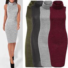 Polyester Polo Neck Regular Sleeveless Dresses for Women