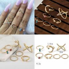 7 Pcs/set Gold Midi Finger Ring Set Vintage Punk Boho Knuckle Rings Jewelry