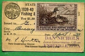 IOWA 1939 Resident Hunting License W/ RW6 Federal Duck Stamp - 378