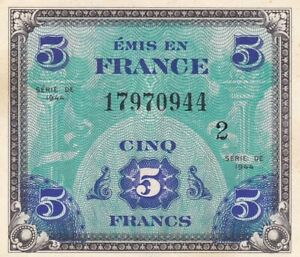 1944 France 5 Francs Allied Military Currency Note,Block #2,  Pick 115b