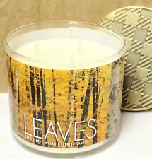 Bath & Body Works LEAVES Large 14.5 oz CANDLE Soy Wax 3-Wick Metal Lid