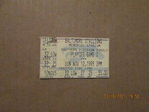 CFL Baltimore Stallions Vintage Defunct Nov.12,1995 Team Logo Ticket Stub