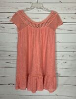 Entro Boutique Women's L Large Pink Lace Short Sleeve Cute Summer Fall Dress