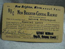 vintage NEW BRIGHTON CENTRAL RAILWAY MN Special Agent Pass