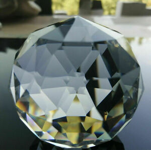 Faceted Crystal Ball Prism Paperweight  Centerpiece Suncatcher 60mm Fengshui