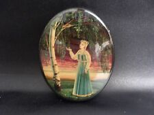 Vintage Russian Oval Lacquer Box Fedoskino HANDPAINTED  Young Maiden  1993