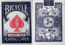 RARE OHIO MADE Bicycle Blue LEAGUE BACK Playing Card Decks!