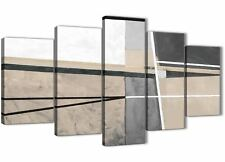 5 Piece Beige Cream Grey Painting Abstract Dining Room Canvas - 5394 - 160cm