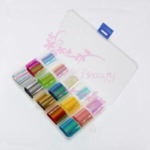 1 Box 15 Color Holographic Paper Broken Glass Foil Nail Art DIY Design Decor Set