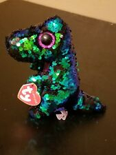 Ty Flippables: Crunch -Black/Turquoise Sequined Dinosaur 9� Beanie New/Rare