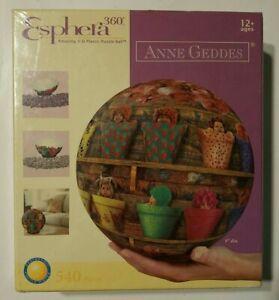 "Anne Geddes  Esphera 360 degree 540 Pieces Plastic Puzzle 9"" Ball Babies in Pots"