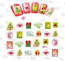 Nail Art Water Decals Transfer Stickers Xmas Trees Post Stamps (BLE2331)